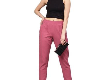 מכנסיים מכותנה בצבע ורוד עתיק, מכנסי פשתן
