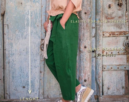 מכנס כותנה ירוק