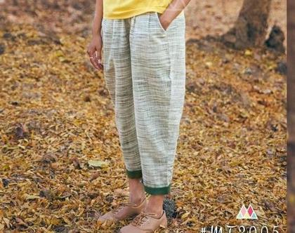 מכנס כותנה פסים עם גומי במותן