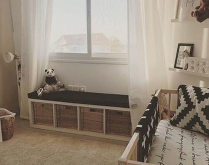 משלוח מתנה- מזרון ספסל כוורת איקאה Kallax   ספסל איקאה   All black   שחור חלק   פינת רביצה   עיצוב חדרי ילדים   מיזרון כוורת איקיאה Kallax
