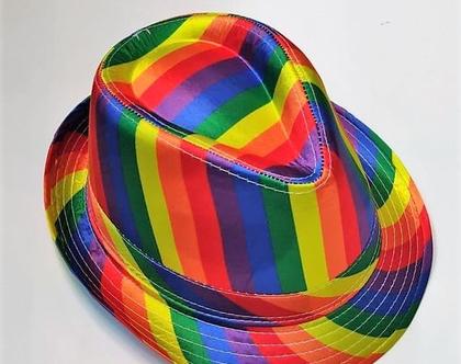 כובע סאטן בצבעי הגאווה | מגבעת גאווה
