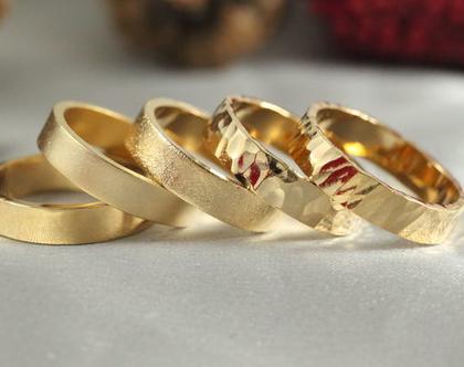 טבעת נישואין 4 ממ| זהב 14k | טבעת נישואין 14k | טבעת נישואין קלאסית | טבעת זהב 14K | טבעת מעוצבת | טבעת מרוקעת | טבעות נישואים 14 קראט