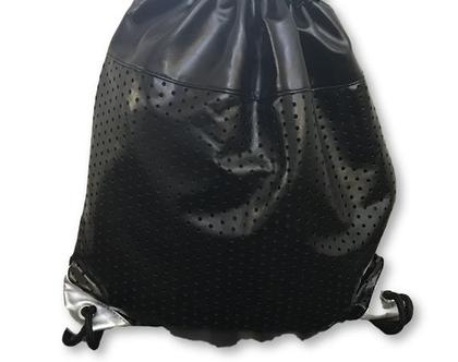 תיק גב שחור משולב עם כסף, תיק גב קל,