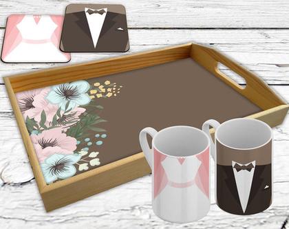 מארז סט מתנה הכולל מגש עץ 2 ספלי קרמיקה ו-2 תחתיות עץ, מתנה לנשואין