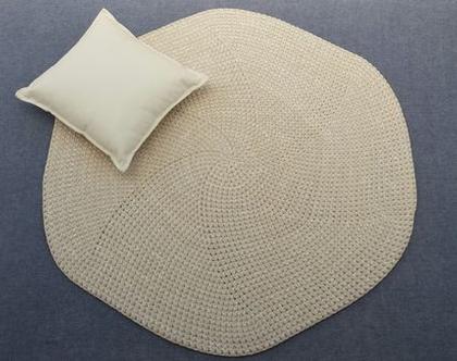 שטיח טריקו | שטיח סרוג | שטיח עבודת יד | שטיח בגוון טבעי | שטיחים סרוגים