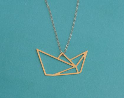 שרשרת סירת נייר אוריגמי זהב, שרשרת קיפולי נייר, שרשרת מיוחדת, שרשרת סירה זהב, שרשרת לאישה, שרשרת אוריגאמי, מתנה לחברה