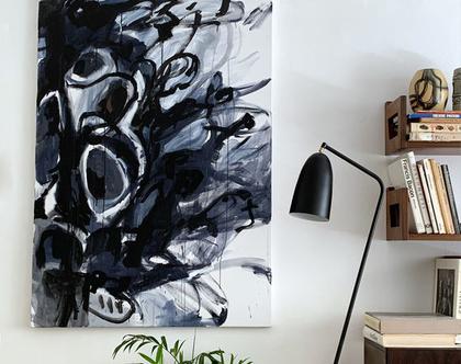 אמנות מודרנית לבית, אומנות ישראלית מקורית, ציור אורגינלי על קנבס, ציור שחור לבן לסלון