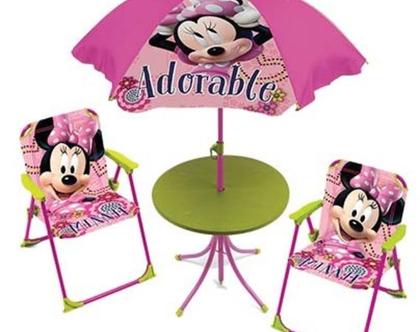 סט פטיו לילדים שולחן כיסאות ושימשייה מיני מאוס
