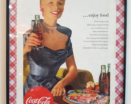 קוקה קולה פרסומת ישנה ממוסגרת (1952) - קוקה קולה וינטאג'