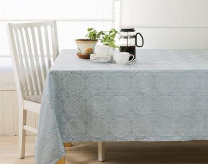 """מפת שולחן - דגם """"מנדלה"""" טורקיז"""