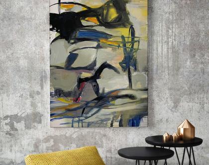 אמנות מודרנית לבית, אומנות ישראלית מקורית, ציור אורגינלי על קנבס, ציור לסלון, קיר ותמונות