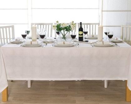 """מפת שולחן - דגם """"מנדלה"""" לבן"""