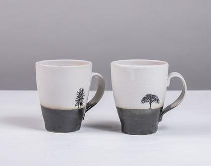 זוג ספלים גדולים מקרמיקה בצבע שחור לבן עם הדפסי עצים   2 כוסות קפה גדולות