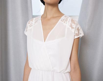 שמלת כלה מעטפת משוחררת עם שרוולים קצרים