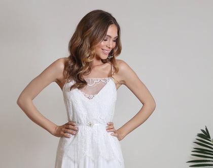 שמלת כלה בוהו שיק רומנטית טופ תחרה