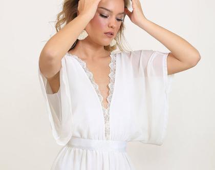 שמלת כלה משיפון שרוול קימונו
