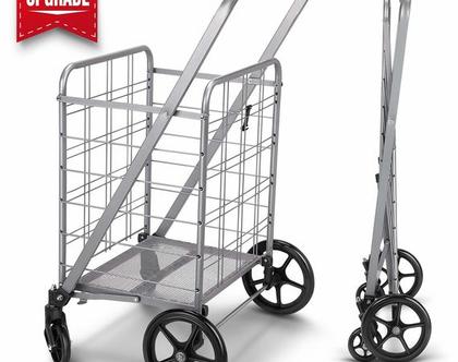 עגלת קניות משודרגת 360°, 4 גלגלים ומשטח מתכת בתחתית