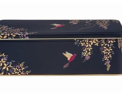 חסר במלאי - קופסאת פח מלבנית   קופסאת אחסון  קופסת פח עם הדפס ציפורים בכחול וזהב משגע