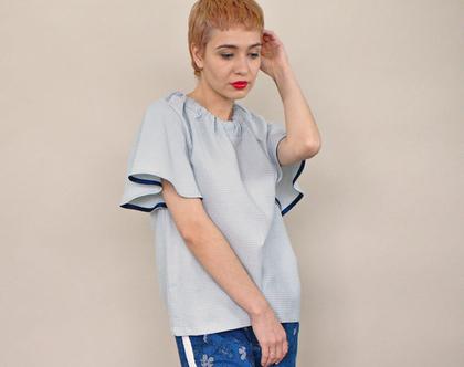 חדש! חולצת פיקה אפורה, עם קשירה בגב