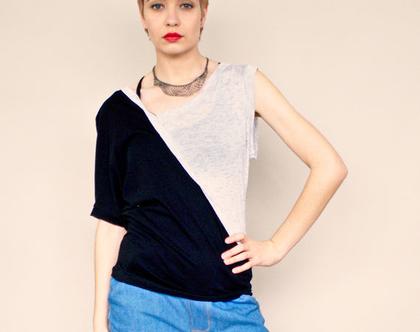 חדש! חולצה אסימטרית לקיץ בשחור ובאפור, חולצה קלילה מויסקוזה