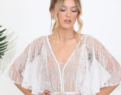 שמלת כלה תחרב בסגנון בוהו שיק, קשירת מחוך במחשוף קידמי