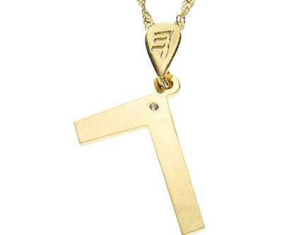 שרשרת תליון יהלום מזהב אות עברית קדומה - ג׳