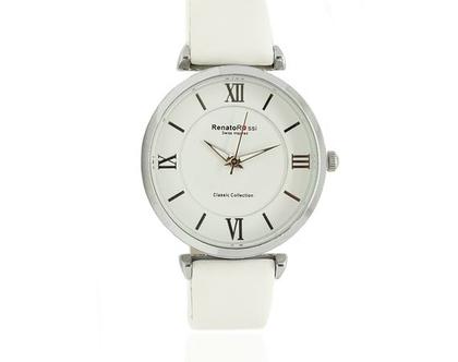 שעון לבן לנשים עם רצועת עור רנטו רוסי