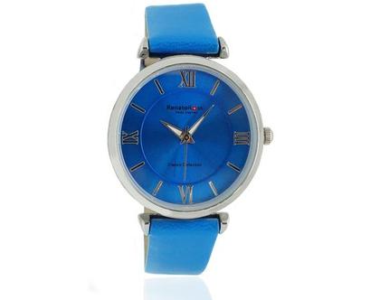 שעון כחול לנשים עם רצועת עור רנטו רוסי