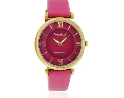 שעון ורוד לנשים עם רצועת עור מנגנון שוויצרי זכוכית קריסטל ספיר - רנטו רוסי