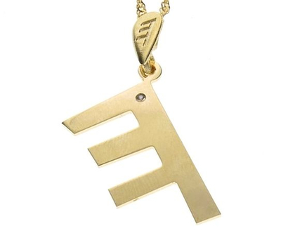 שרשרת תליון יהלום מזהב בצורת אות עברית קדומה - ה׳
