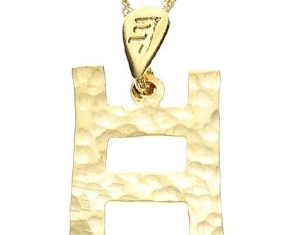 שרשרת תליון זהב בצורת אות עברית קדומה - ח׳