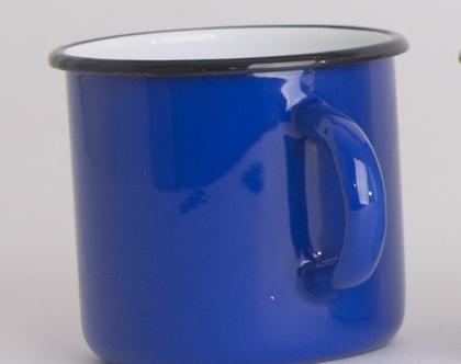 ספל אמייל עם ידית בצבע כחול כהה