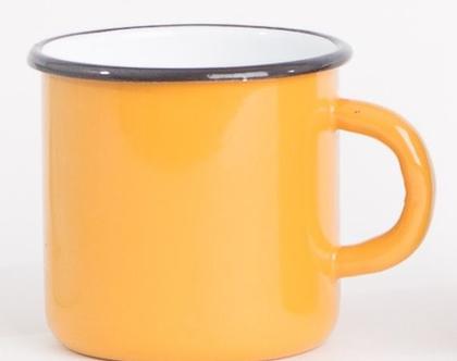 ספל אמייל עם ידית בצבע צהוב חרדל