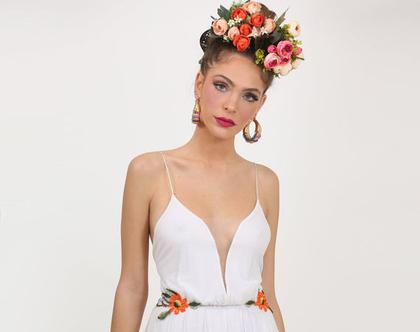 שמלת כלה אלטרנטיבית עם ריקמה פרחונית צבעונית