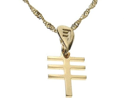 שרשרת תליון זהב בצורת אות עברית קדומה - ס׳