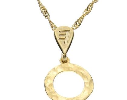 שרשרת תליון זהב בצורת אות עברית קדומה - ע