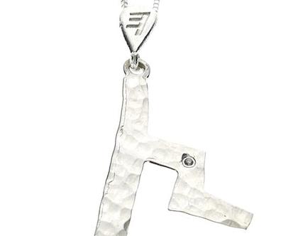 שרשרת תליון יהלום מכסף בצורת אות עברית קדומה - צ׳