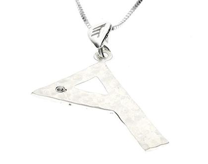 שרשרת תליון יהלום מכסף בצורת אות עברית קדומה - ר׳