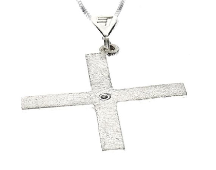 שרשרת תליון יהלום מכסף בצורת אות עברית קדומה - ת׳