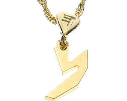 שרשרת תליון זהב בצורת אות עברית קדומה - נ׳