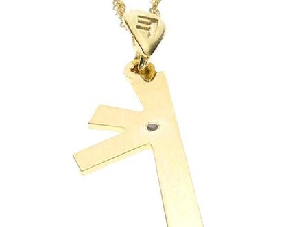 שרשרת תליון יהלום מזהב בצורת אות עברית קדומה - כ׳