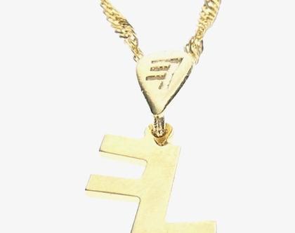 שרשרת תליון זהב בצורת אות עברית קדומה - י׳