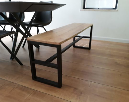 ספסל/שולחן שמונה מעץ אלון ובוק עם רגלי מלבן | ספסל לפינת אוכל | ספסל לאמבטיה | ספסל לחדר שינה | ספסל פסנתר