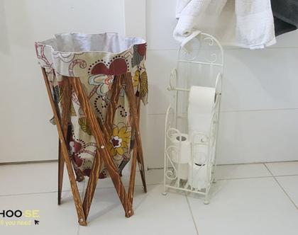 סל כביסה, חדר אמבטיה, איפסון, עיצוב לבית, מתנה לחג, סל כביסה פרחוני k667-2