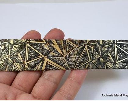 רצועת פליז חרוטה- חלקים לתכשיטים- רצועת פליז עם חריטות גאומטריות