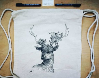 תיק כותנה שרוכים, אייל האביבים מאוייר בעבודת יד