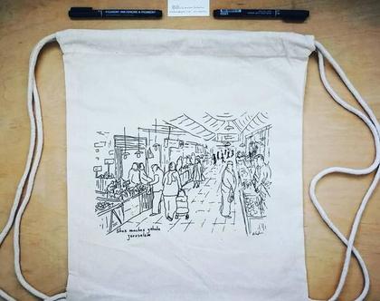 תיק כותנה שרוכים, שוק מחנה יהודה מאוייר בעבודת יד