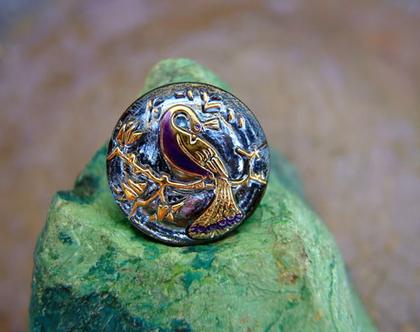 """כפתור זכוכית עם עיטור טווס, כפתור אומנותי עבודת יד וצביעת יד בגודל 22 מ""""מ תוצרת צ'כיה"""