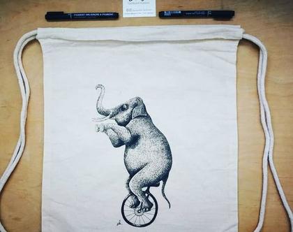 תיק כותנה שרוכים, פיל קרקס מאוייר בעבודת יד