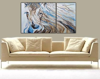 סוס אציל - יצירה אבסטרקטית בעבודת יד שתי חלקים של סוס בגוונים של חום וטורקיז עם טקסטורות מובלטות